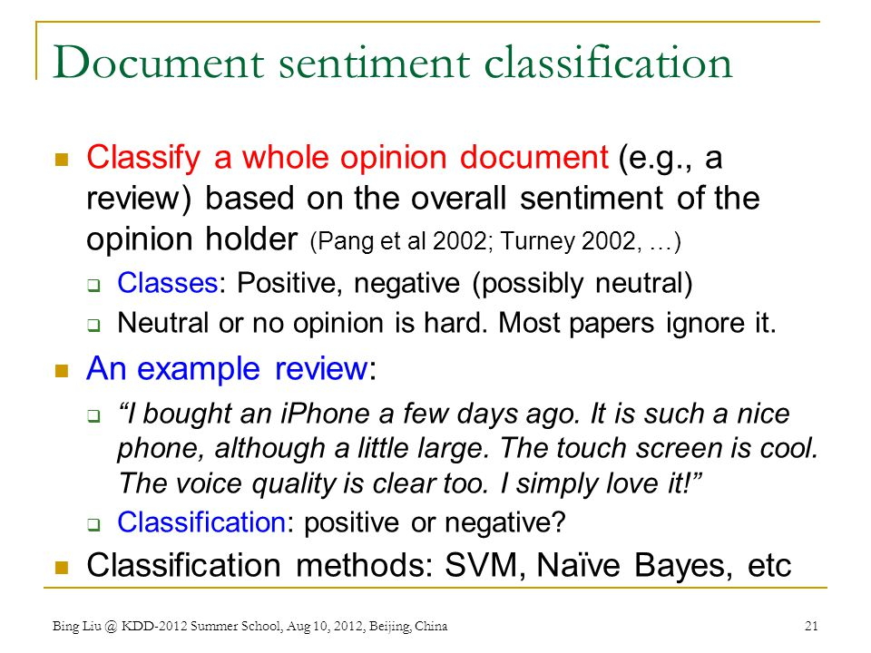 Document sentiment classification