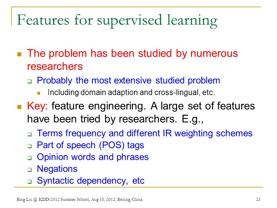 Features for supervised learning