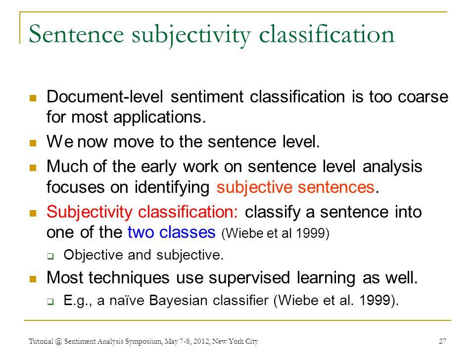 Sentence subjectivity classification