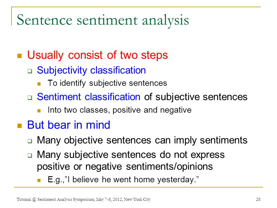 Sentence sentiment analysis