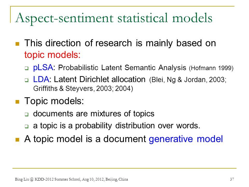 Aspect-sentiment statistical models