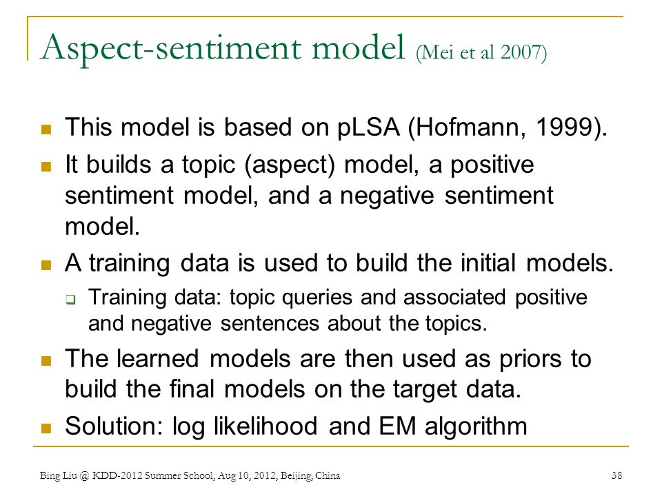 Aspect-sentiment model (Mei et al 2007)