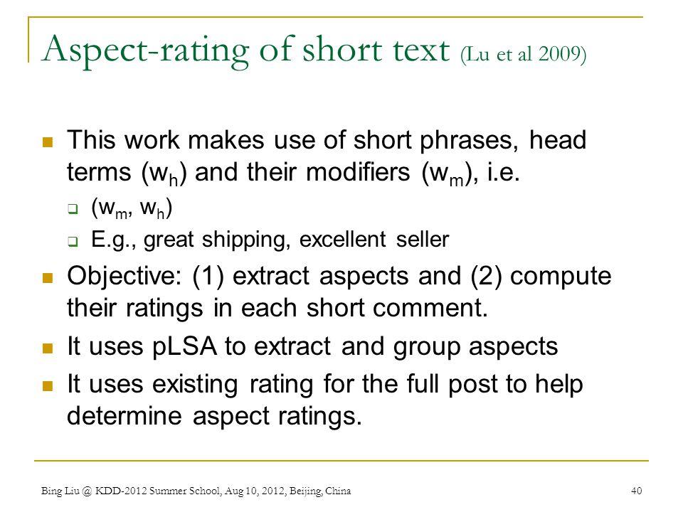 Aspect-rating of short text (Lu et al 2009)