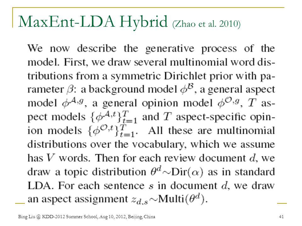 MaxEnt-LDA Hybrid (Zhao et al. 2010)