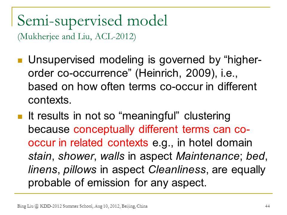Semi-supervised model (Mukherjee and Liu, ACL-2012)