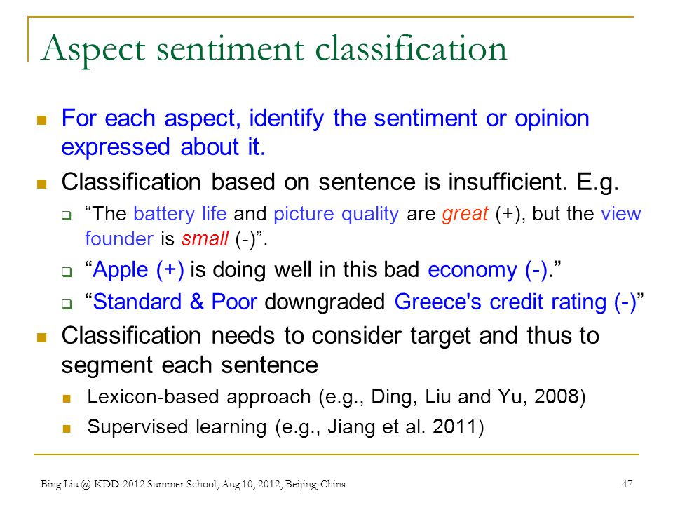 Aspect sentiment classification