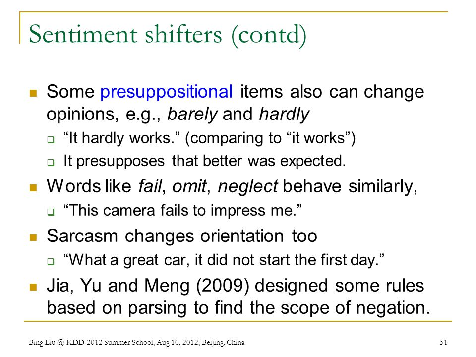 Sentiment shifters (contd)