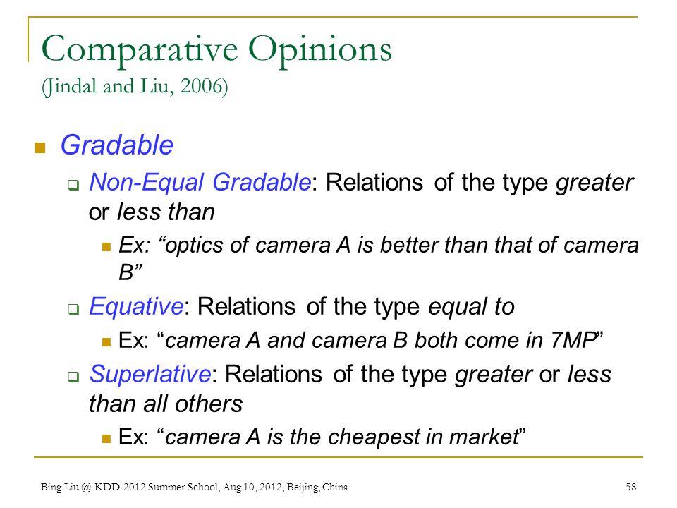 Comparative Opinions (Jindal and Liu, 2006)