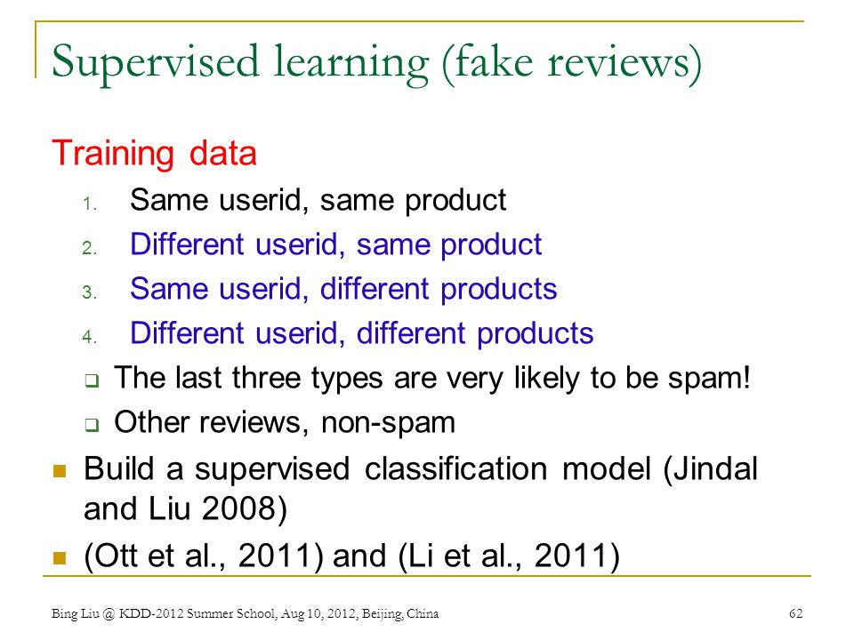 Supervised learning (fake reviews)