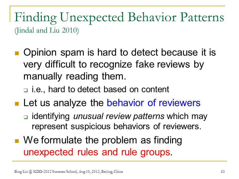 Finding Unexpected Behavior Patterns (Jindal and Liu 2010)