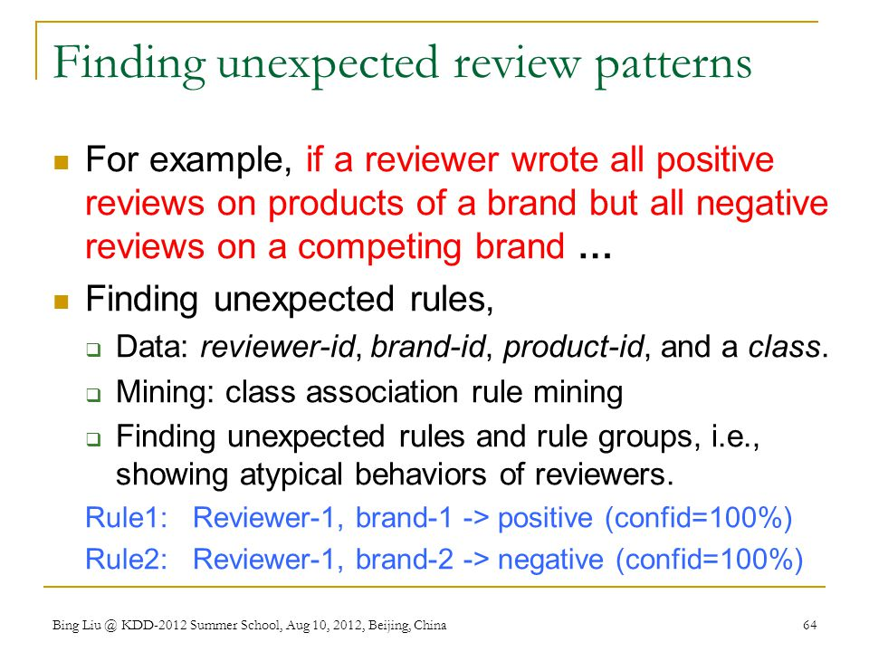 Finding unexpected review patterns
