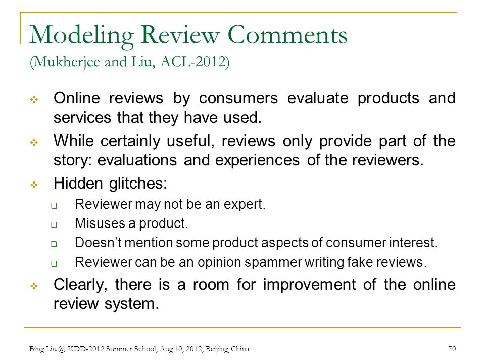 Modeling Review Comments (Mukherjee and Liu, ACL-2012)