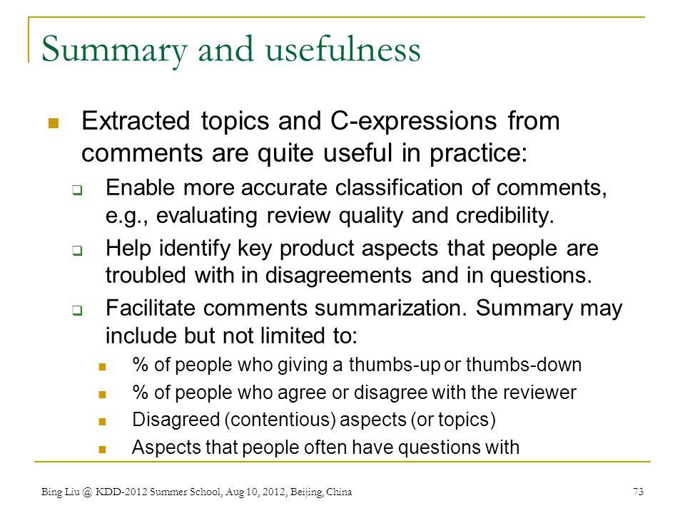 Summary and usefulness