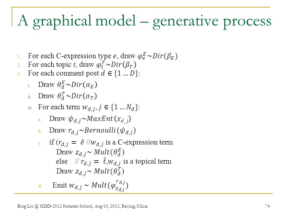 A graphical model – generative process
