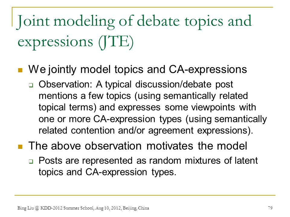 Joint modeling of debate topics and expressions (JTE)