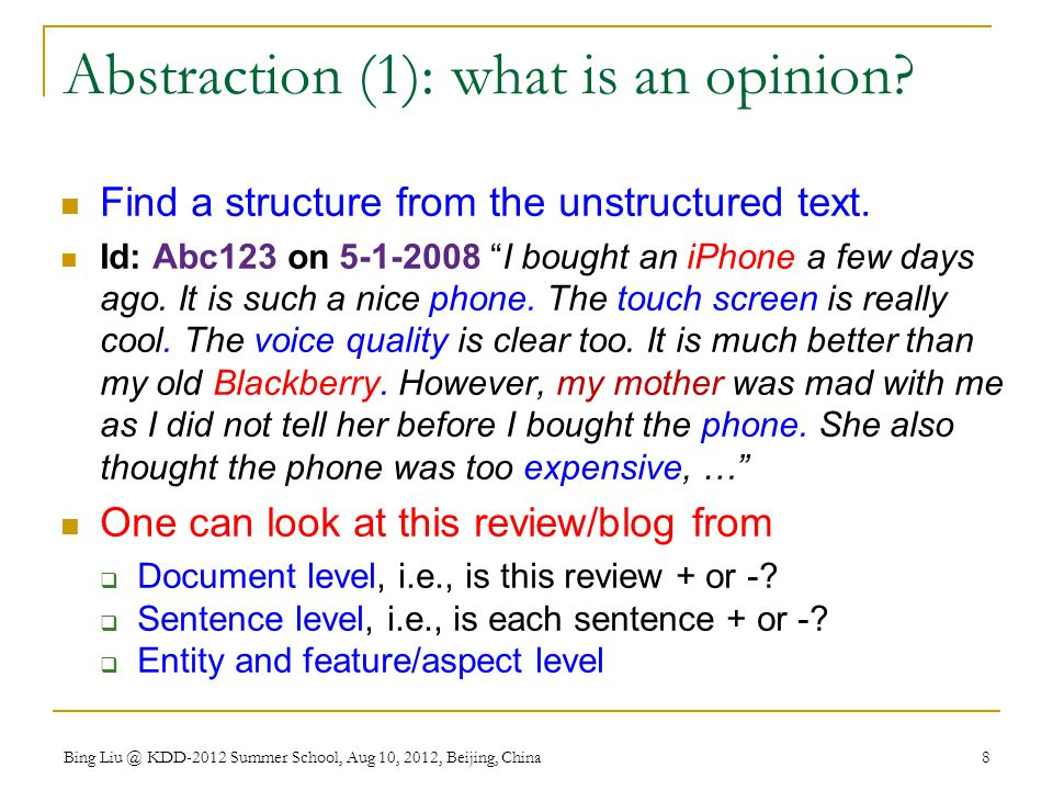 Abstraction (1): what is an opinion