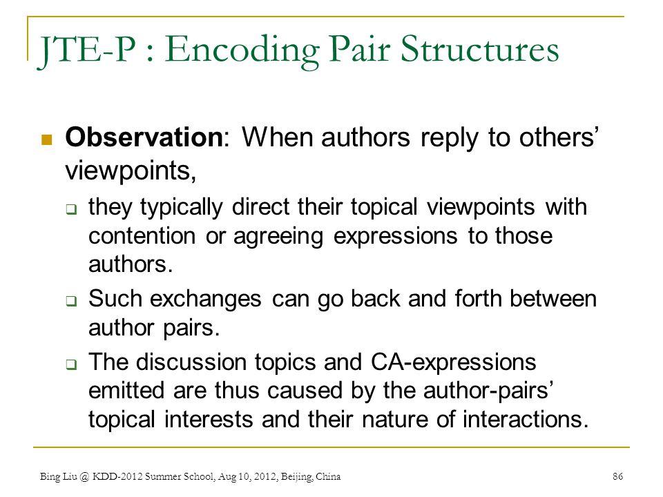 JTE-P : Encoding Pair Structures