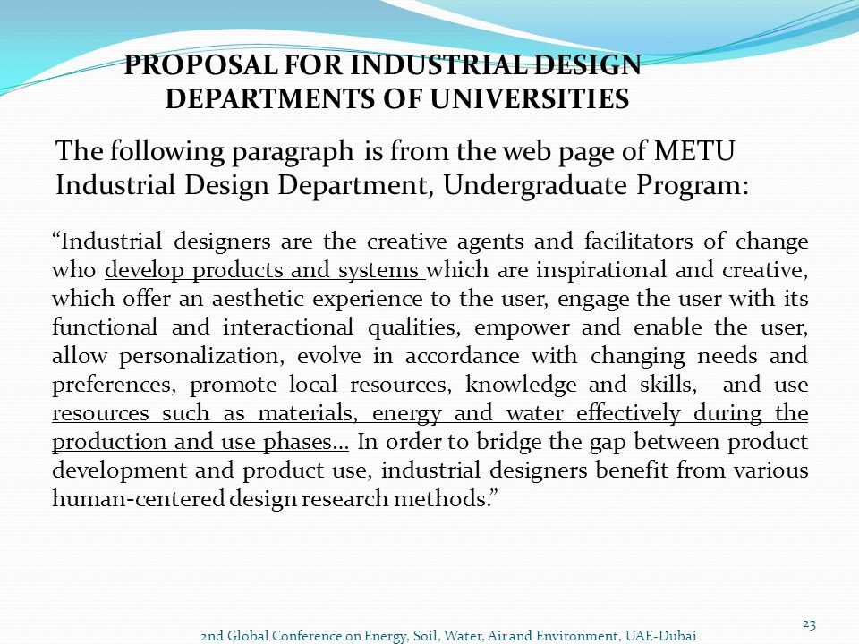 PROPOSAL FOR INDUSTRIAL DESIGN DEPARTMENTS OF UNIVERSITIES