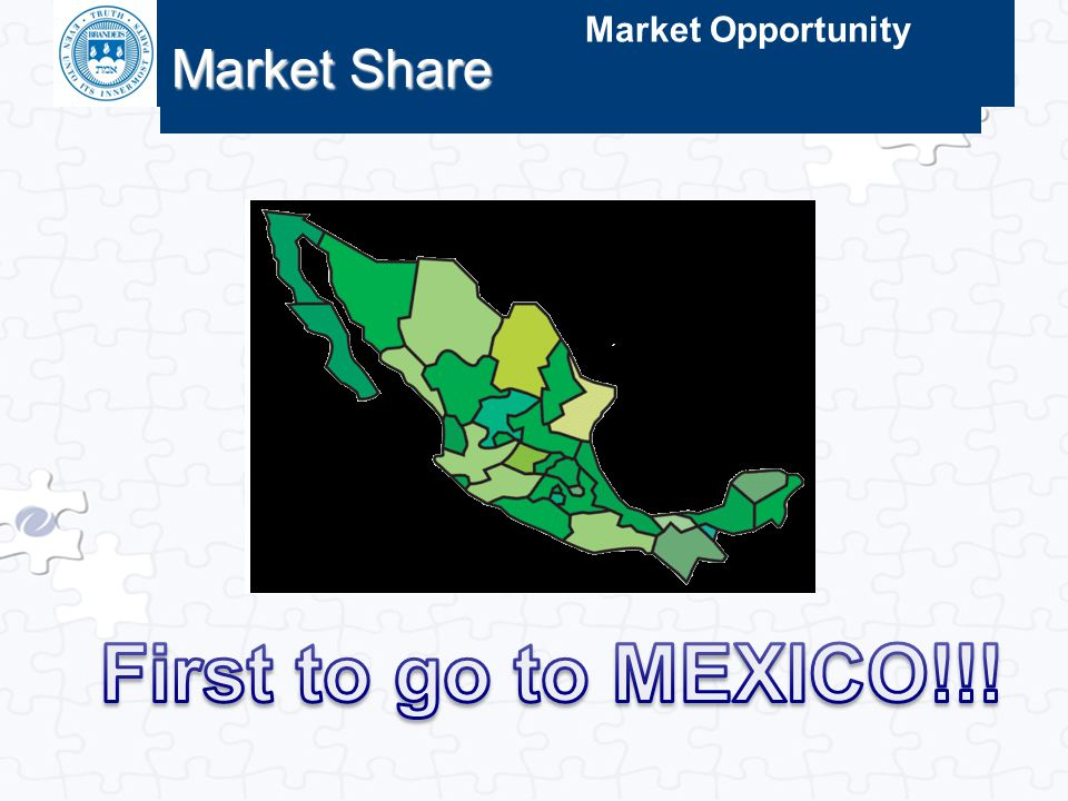 Market Share Market Opportunity First to go to MEXICO!!!