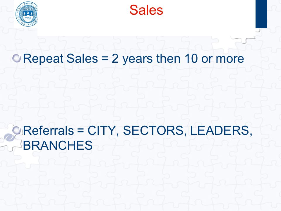 Sales Repeat Sales = 2 years then 10 or more