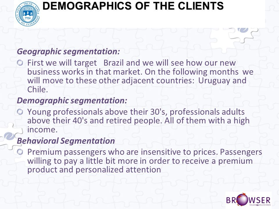 DEMOGRAPHICS OF THE CLIENTS