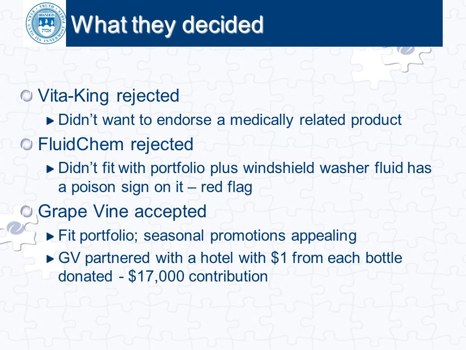 What they decided Vita-King rejected FluidChem rejected