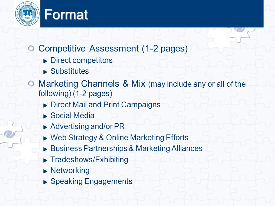 Format Competitive Assessment (1-2 pages)