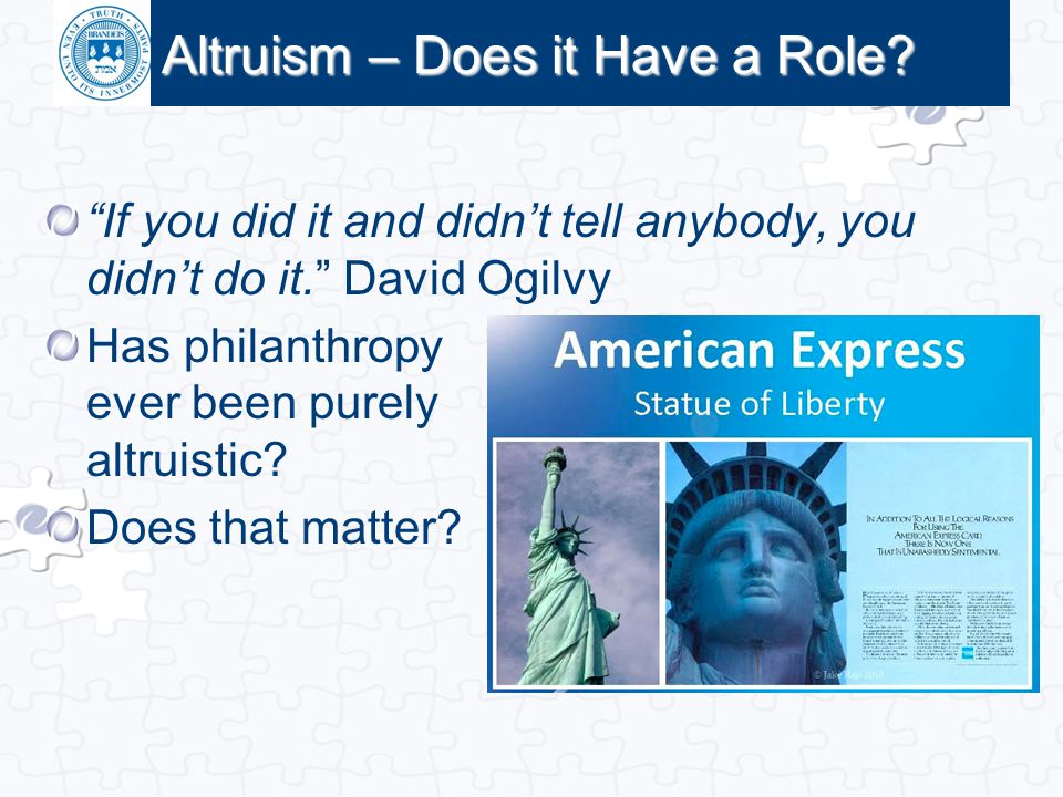 Altruism – Does it Have a Role