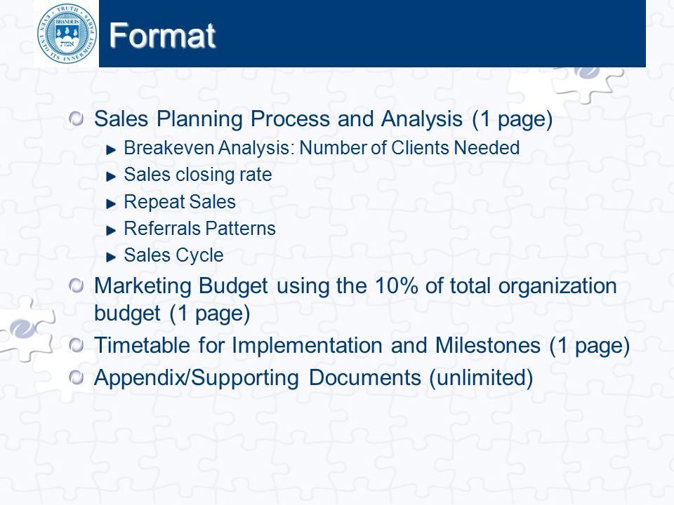 Format Sales Planning Process and Analysis (1 page)