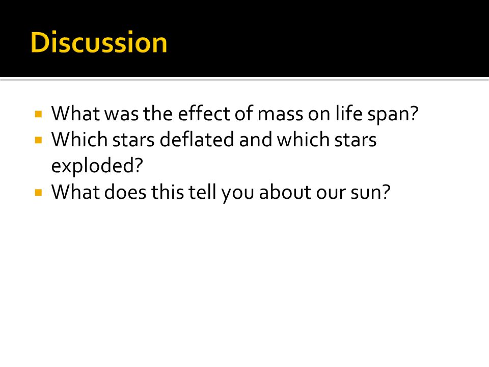 Discussion What was the effect of mass on life span