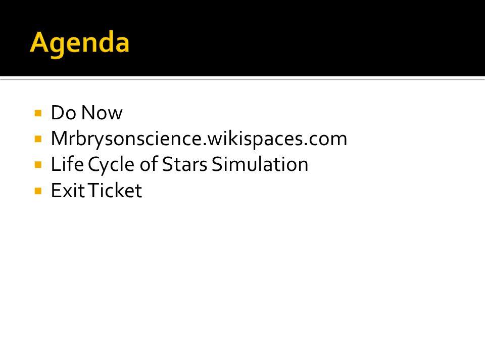 Agenda Do Now Mrbrysonscience.wikispaces.com