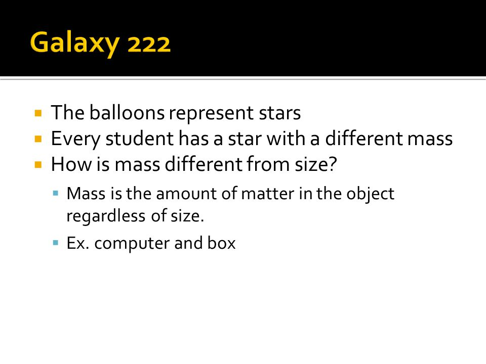 Galaxy 222 The balloons represent stars