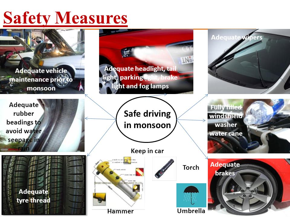Safety Measures Safe driving in monsoon Adequate wipers