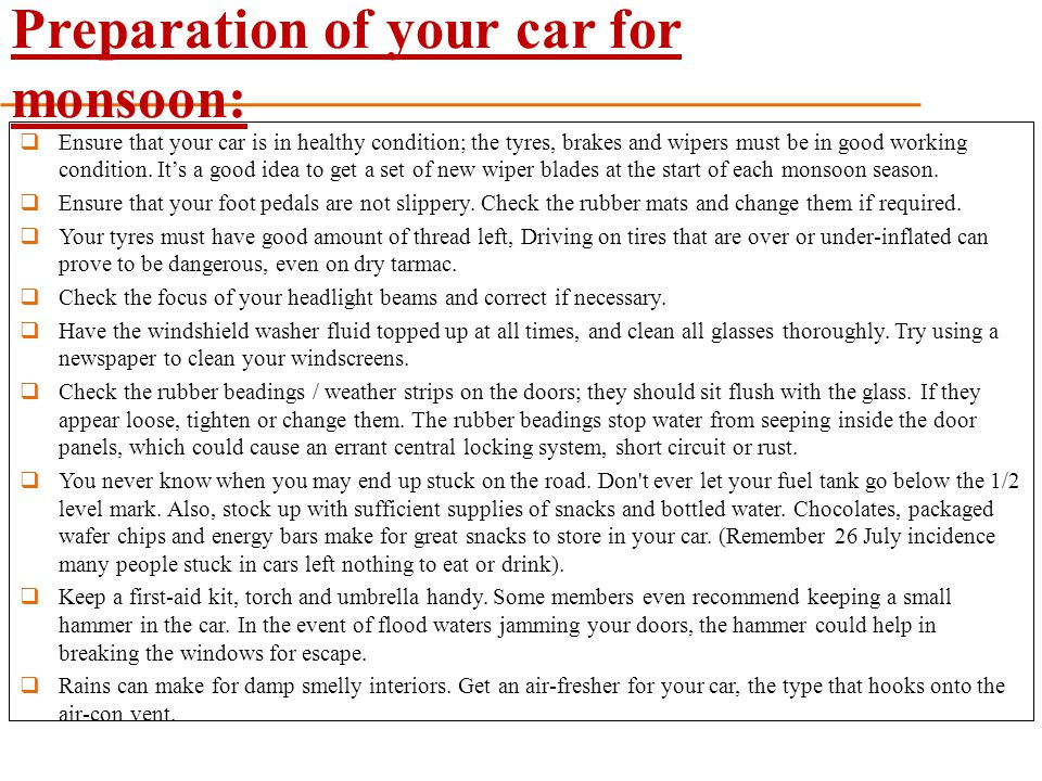 Preparation of your car for monsoon: