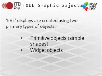 FT800 Graphic objects 'EVE' displays are created using two primary types of objects: Primitive objects (simple shapes)
