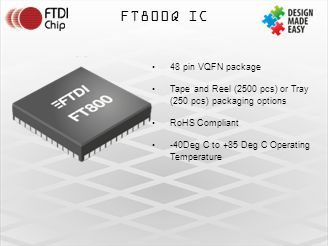 FT800Q IC 48 pin VQFN package. Tape and Reel (2500 pcs) or Tray (250 pcs) packaging options. RoHS Compliant.