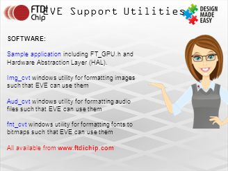 EVE Support Utilities SOFTWARE: Sample application including FT_GPU.h and Hardware Abstraction Layer (HAL).