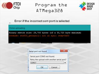 Program the ATMega328 Error if the incorrect com port is selected