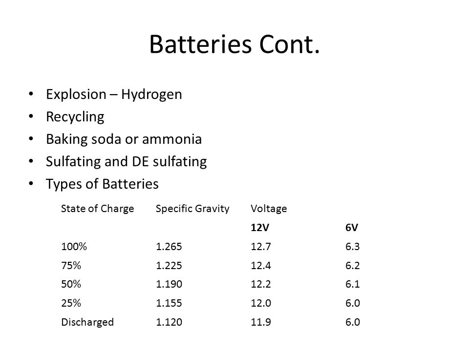Batteries Cont. Explosion – Hydrogen Recycling Baking soda or ammonia
