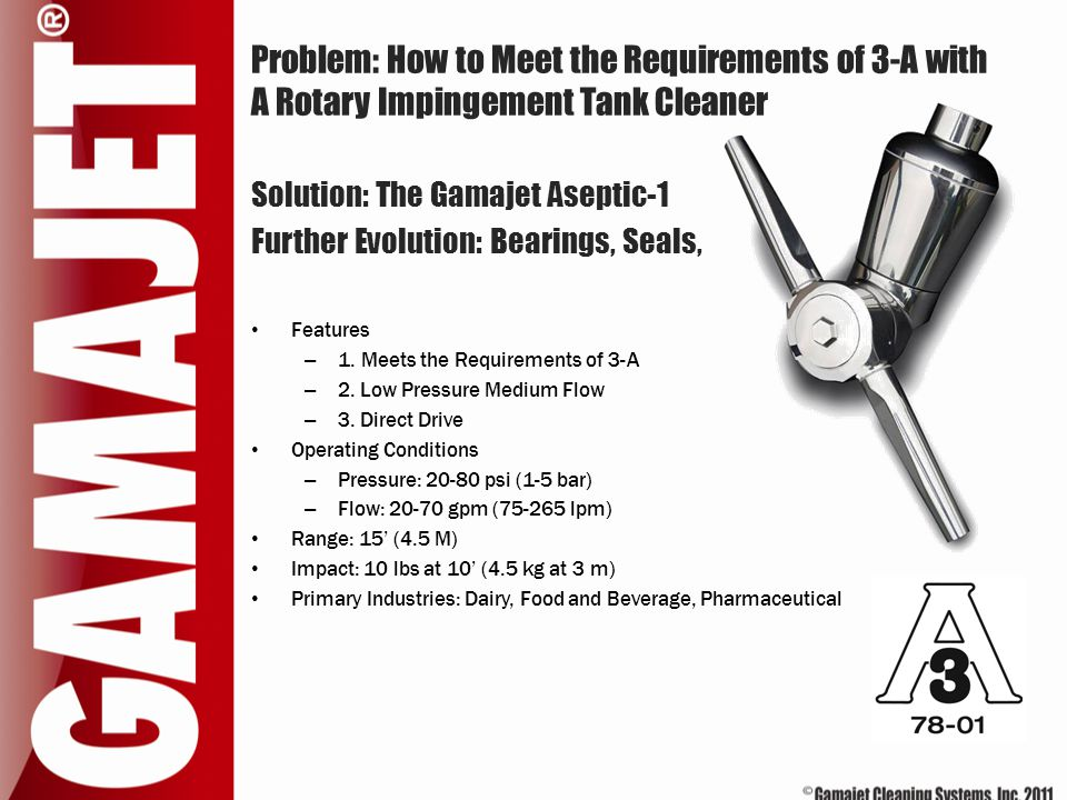 Problem: How to Meet the Requirements of 3-A with A Rotary Impingement Tank Cleaner