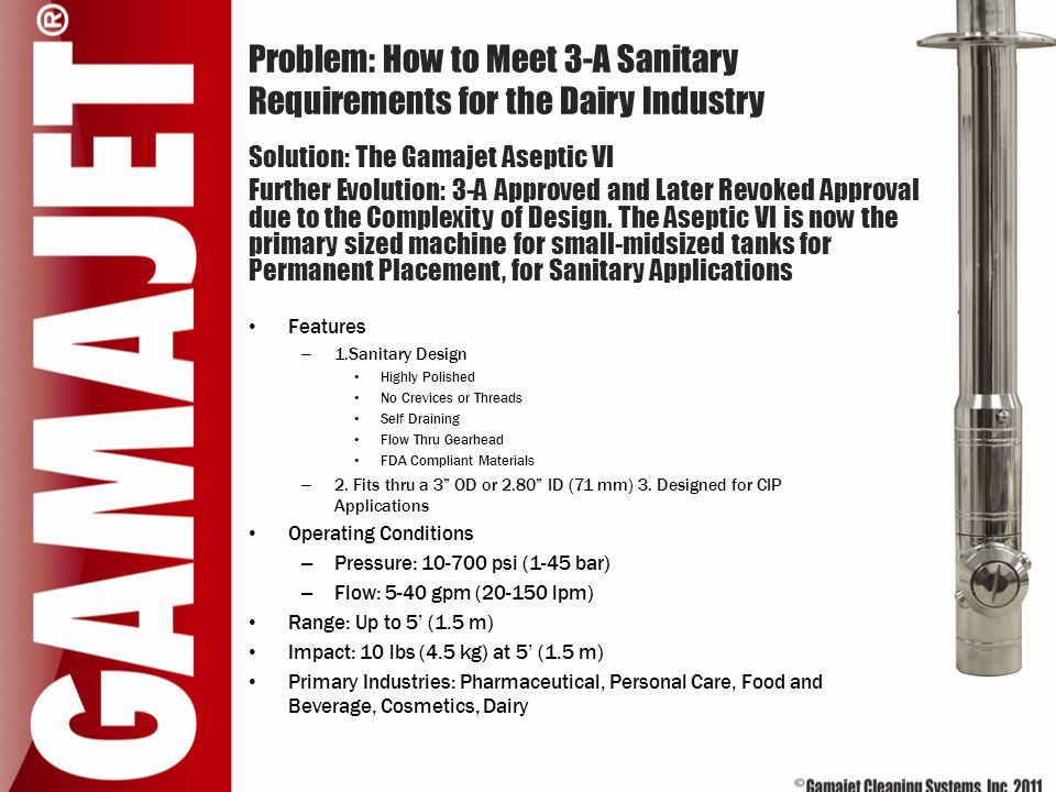 Problem: How to Meet 3-A Sanitary Requirements for the Dairy Industry