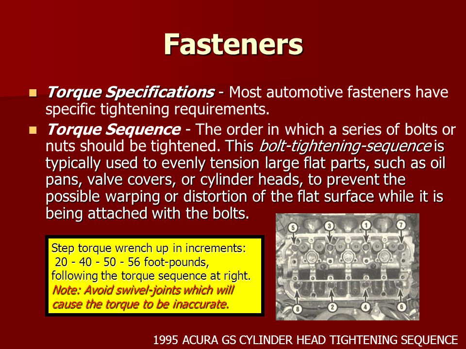 Fasteners Torque Specifications - Most automotive fasteners have specific tightening requirements.