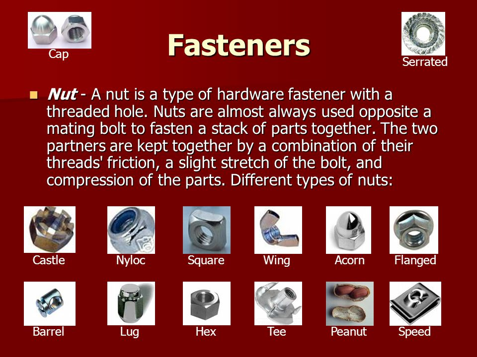 Fasteners Cap. Serrated.