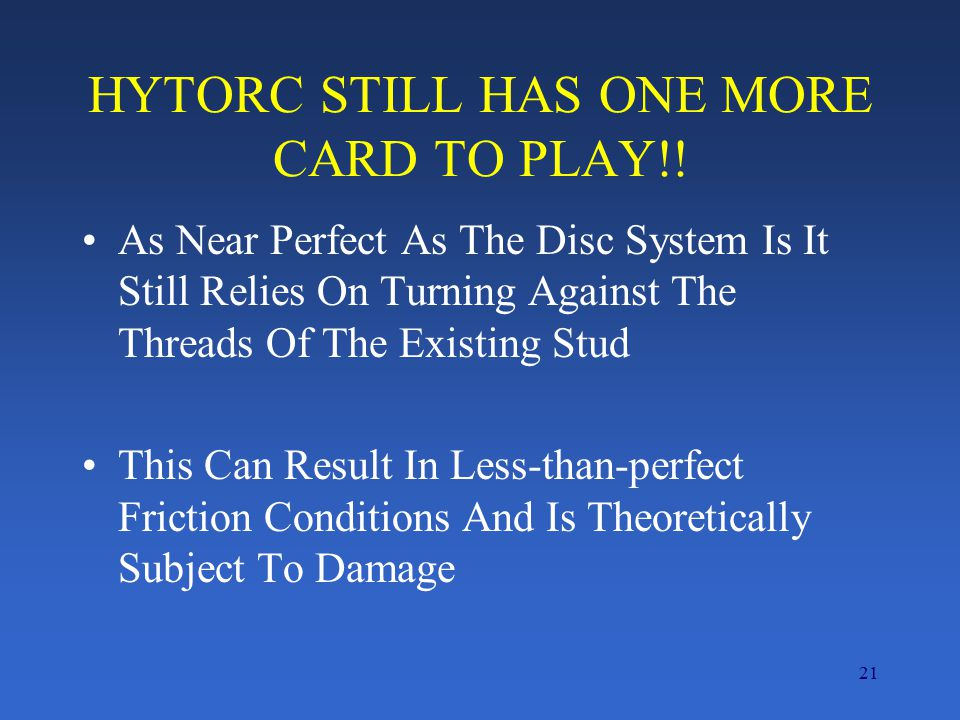 HYTORC STILL HAS ONE MORE CARD TO PLAY!!