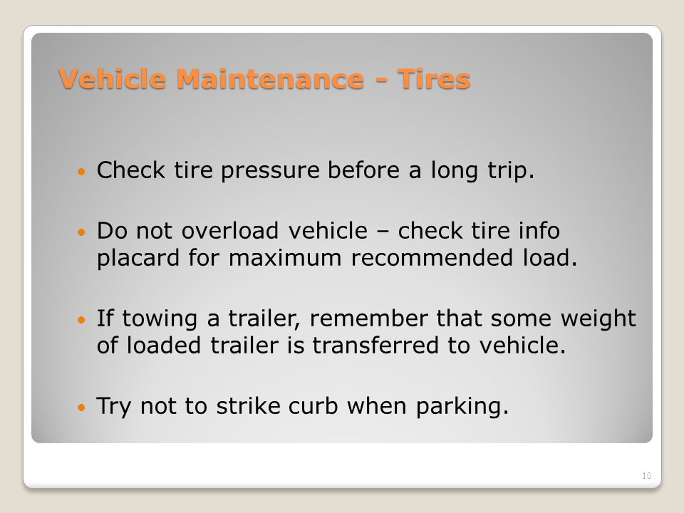Vehicle Maintenance - Tires