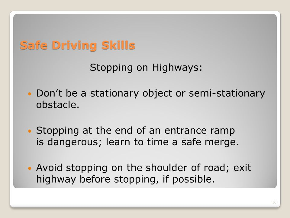 Safe Driving Skills Stopping on Highways: