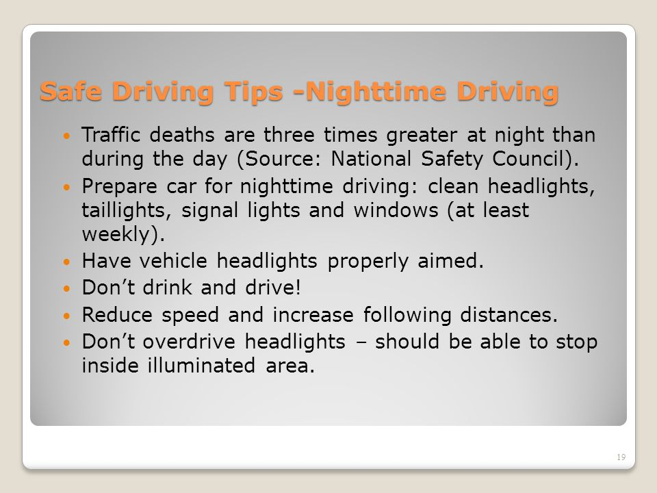 Safe Driving Tips -Nighttime Driving