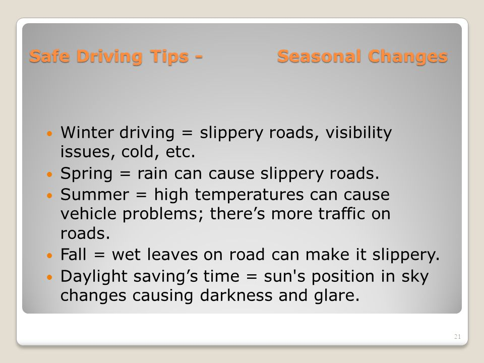 Safe Driving Tips - Seasonal Changes