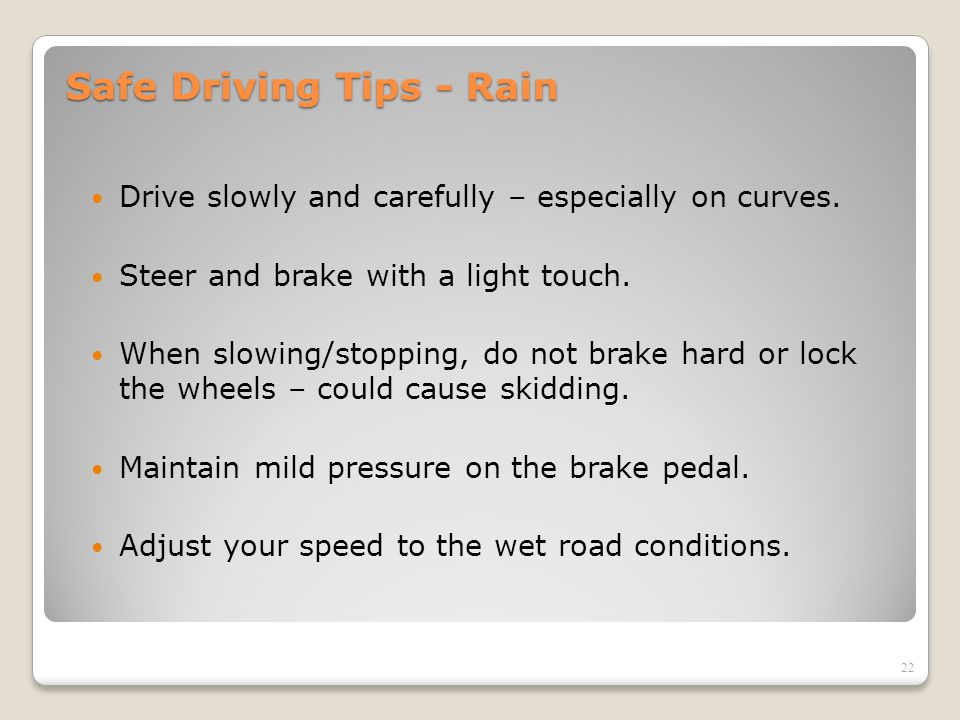 Safe Driving Tips - Rain