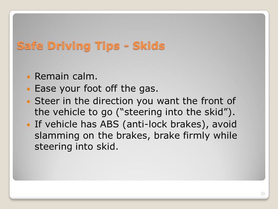 Safe Driving Tips - Skids